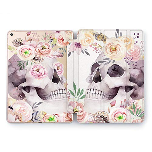 Wonder Wild Pink Skull iPad Cover Pro 9.7 inch Flowers Mini 1 2 3 4 Red Floral Print Air 2 10.5 12.9 Apple Smart Painted Case Plastic Stand 5th 6th Generation Design 2017 2018 Colorful Bright Art ()