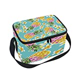 ALAZA Tropical Flower Pineapple Fruit Hawaii Insulated Lunch Bag Tote Bag Cooler Lunchbox for Picnic School Women Men Kids