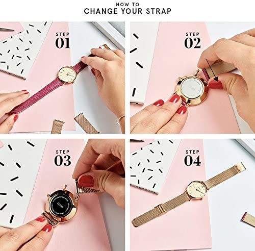 CLUSE La Roche Petite Mesh Rose Gold White Marble CL40107 Women's Watch 33mm Stainless Steel Strap Minimalistic Design Casual Dress Japanese Quartz Precision