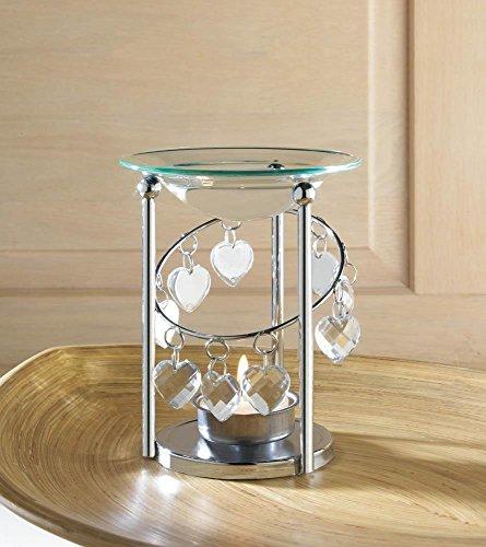 OOHHOO crystal gem prism Heart love silver Wax Tart warmer Oil candle holder burner