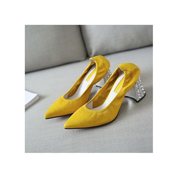 Elastica giallo 37 Donna Singole Tacco Con Pelle Alto Jane Donna In Sexy Mary Scarpe Da Dididd Affilate