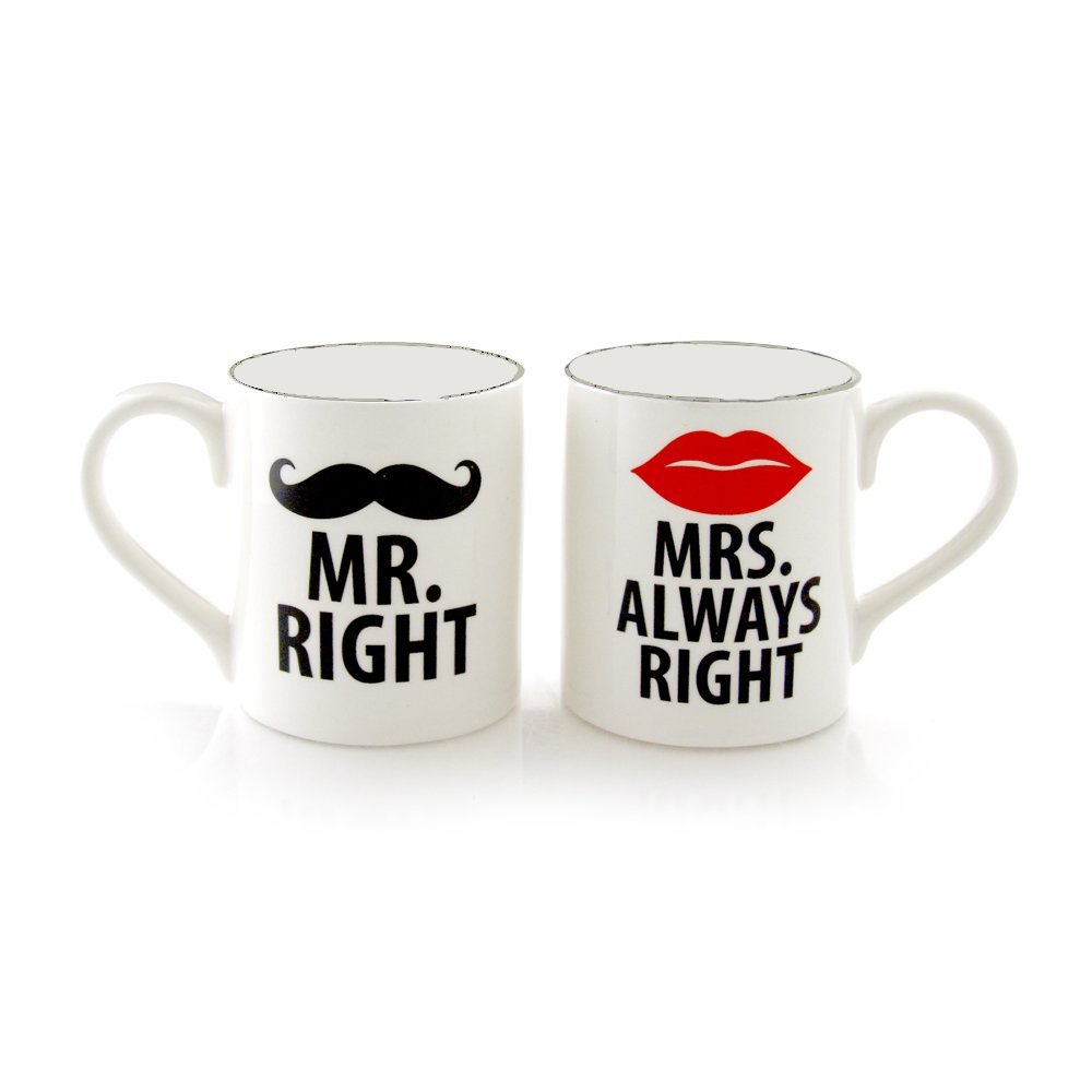 New Mr Right And Mrs Always Right Set of 2 Mugs Couples ...