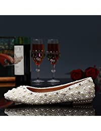 BoShi Women's Pearls Bridal Shoes Eveing 6 CM Wedges Wedding Pumps