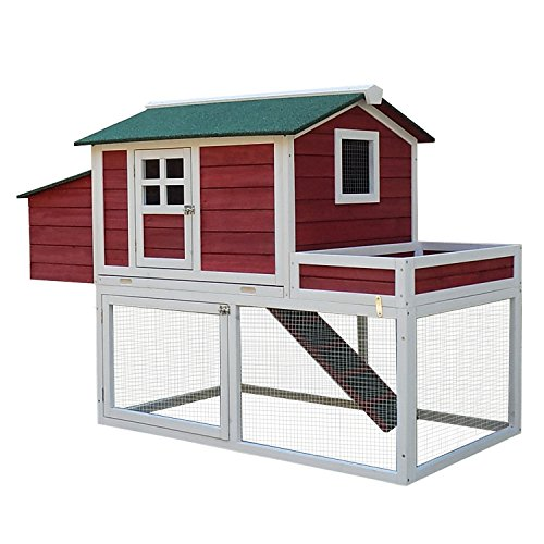 Pawhut-Farmhouse-Wooden-Chicken-Coop-with-Display-Top