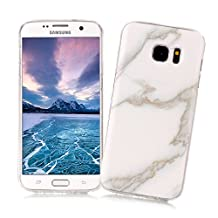 Samsung Galaxy S6 Case XiaoXiMi Marble Texture Cover Soft Flexible TPU Silicone Shell Ultra Slim Lightweight Phone Skin Protective Back Cover Antiscratch Antishock Bumper for Samsung Galaxy S6 - Snowy White