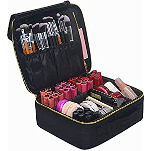 Makeup Train Case, FLYMEI Portable Travel Makeup Case Waterproof Cosmetic Organizer Kit Make Up Artist Storage for Cosmetics, Makeup Brush Set, Jewelry, Toiletry And Travel Accessories (Black)