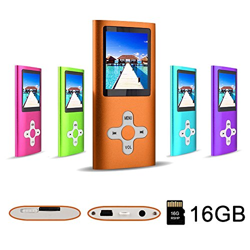 RHDTShop MP3 Player MP4 Player with a Internal 16GB Card, Ultra Slim 1.7 inch LCD Screen, Support UP to 64GB Card,Portable Digital Music Player,Orange