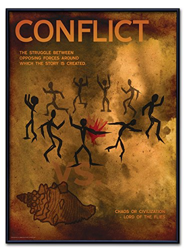 Conflict: Elements of a Novel Framed Poster. Eco-Friendly, English Literature Art Print. Features Lord of the Flies.