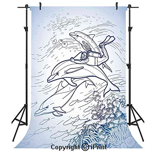 (Sea Animals Decor Photography Backdrops,Sketch of Scuba Diver Holding Fin of Dolphin Over Coral Reefs Fish Underwater,Birthday Party Seamless Photo Studio Booth Background Banner 5x7ft,Multi)