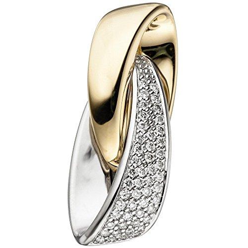Pendentif Or jaune avec brillants 50diamants en or blanc 585& bicolore femme