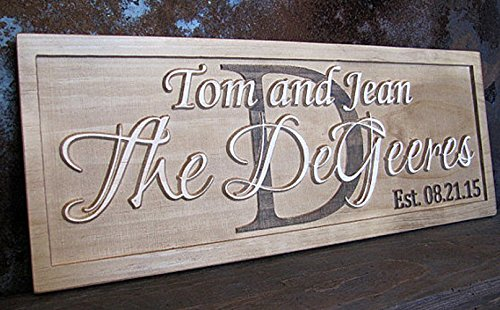 Personalized Family Name Center Initial Signs CARVED Custom Wooden Sign Last name Wedding Gift Established Anniversary custom personalized sign