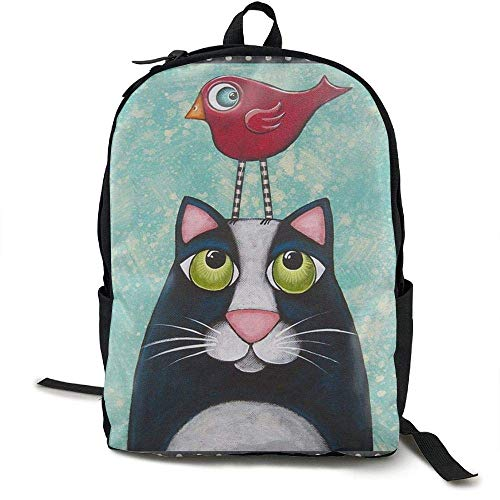 DKFDS Backpacks Folk Art Cat Bird