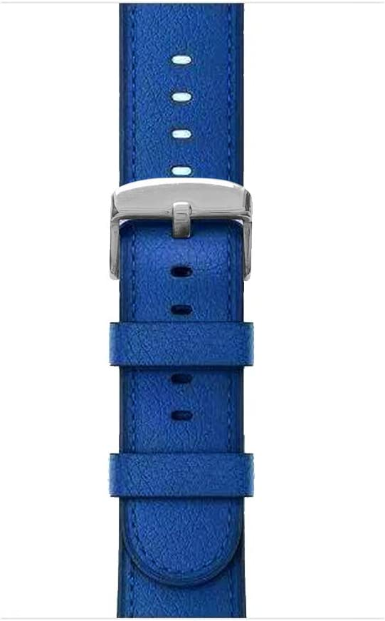for Apple Watch Band, 38mm 40mm 42mm 44mm iWatch Band Genuine Leather Strap Stainless Metal Buckle for Apple Watch Series 5, Series 4, Series 3, Series 2,Sport & Edition (Electric Blue, 38MM)