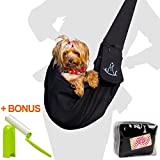 Pet Sling Carrier for Small Dogs and Cats - Adjustable Strap and Front Pocket - Perfect for Travel and Car Transport - Free Bag and Lint Roller - Up To 15 lbs