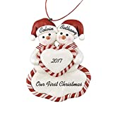 Our First Christmas Personalized Christmas Ornament - Calliope Designs - 4.5'' tall - First Christmas as Mr. and Mrs. - Just Married - Free Customization