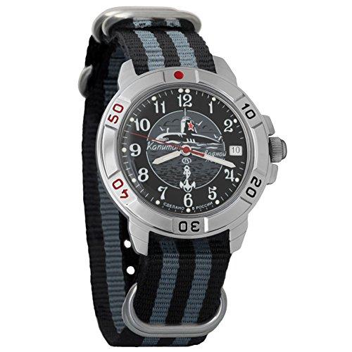 Vostok Komandirskie Submarine Captain Mechanical Mens Military Wrist Watch #431831 (Black+Grey) ()