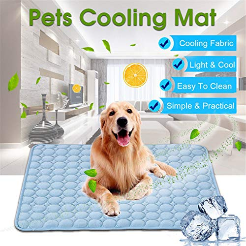 (Pet Self Cooling Pat Summer- Non Toxic Ice Silk Mat Sleep - Extra Large Pet Cats Dogs Cooling Pad with 3 Layers - Help Your Pet Stay Cool (Blue, 39.37x27.55IN))