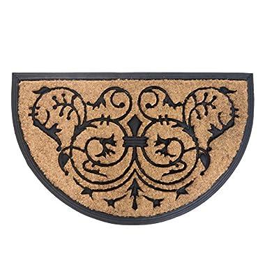 MILLIARD Decorative Renaissance Coco Fiber Half Round Heavy Duty Doormat - 18in.x30in.