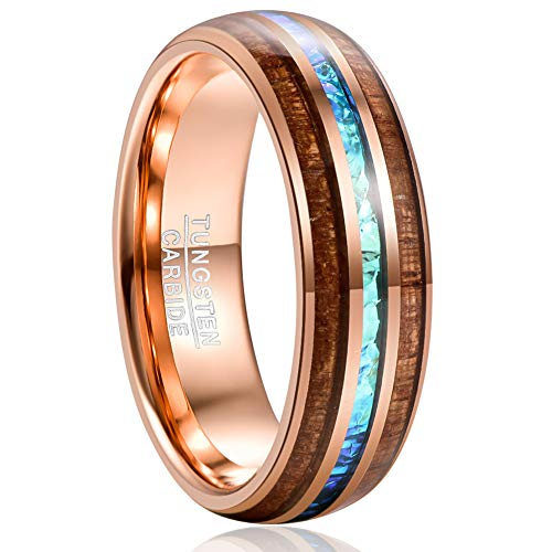 VAKKI 8mm Rose Gold Plated Tungsten Carbide Rings for Men Domed Engagement Bands with Wood and Imitated Opal Inlay Size 13.5