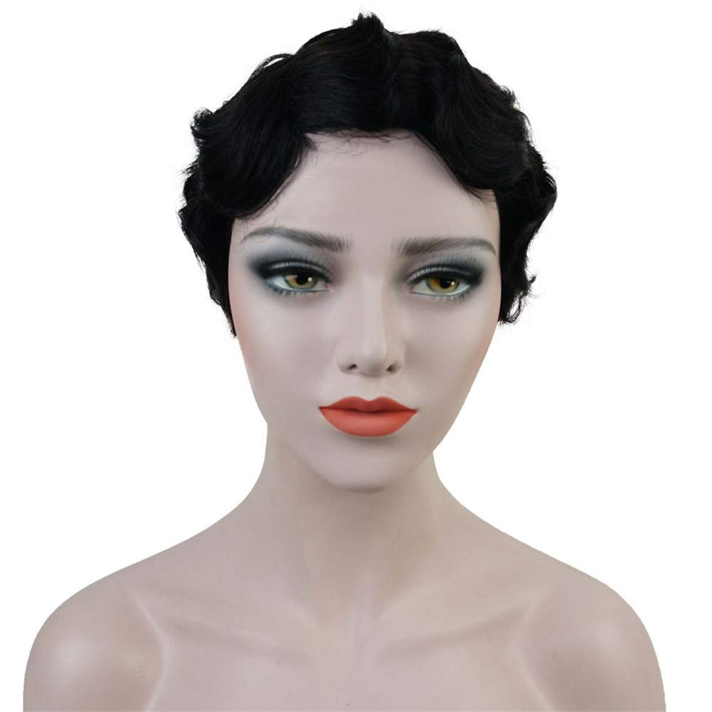 Aimole Short Finger Waves Hairstyles 100 Human Hair For Women African American Black Flapper Hairstyles Wig 1b
