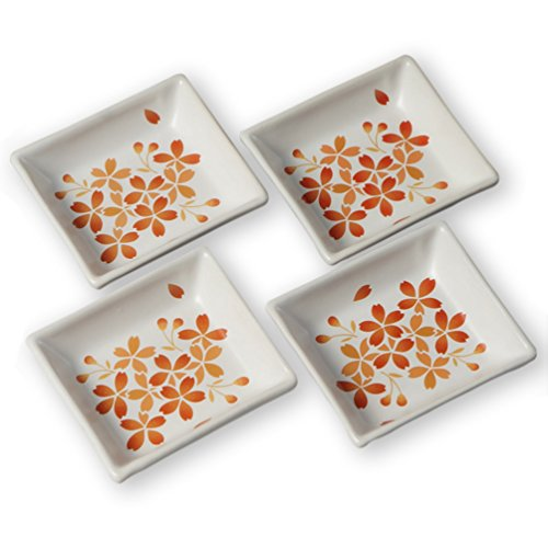 (Cinf Japanese Cherry Blossom 4 inch Salad Dish Plates Set of 4 White Ceramic Sauce Dish/Seasoning Dish/Sushi Dishes/Appetizer Plates/Serving Dish for Kitchen Home,Rectangular ...)