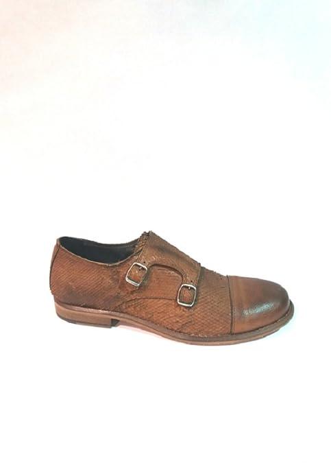 IL TACCO mocasin caballero doble hebilla color cuero, piel suave grabada, suela de cuero de ovye: Amazon.es: Zapatos y complementos
