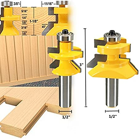 "2pcs Tongue Groove V Notch 45 ° Router Bit Set Woodworking Tool 1//2/"" Shank"