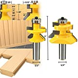 #5: 2pcs Router Bit Set 1/2 inch X 3 inch Matched Tongue Groove V- Notch 45 degree Cutter Kit Tool