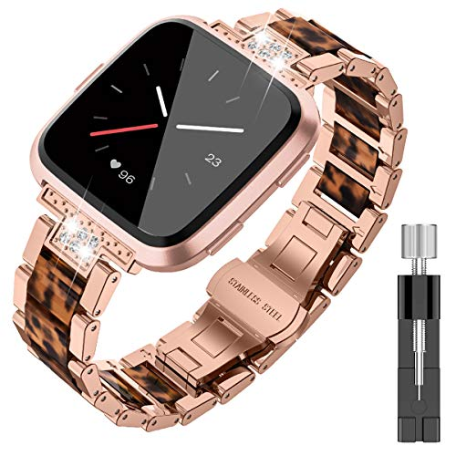 TOYOUTHS Metal Strap Compatible with Fitbit Versa/Versa Lite/Versa 2 & Special Edition Bands for Women Men Stainless Steel Replacement Wristband Bracelet Classic Accessories Dark Rose Gold+Tortoise