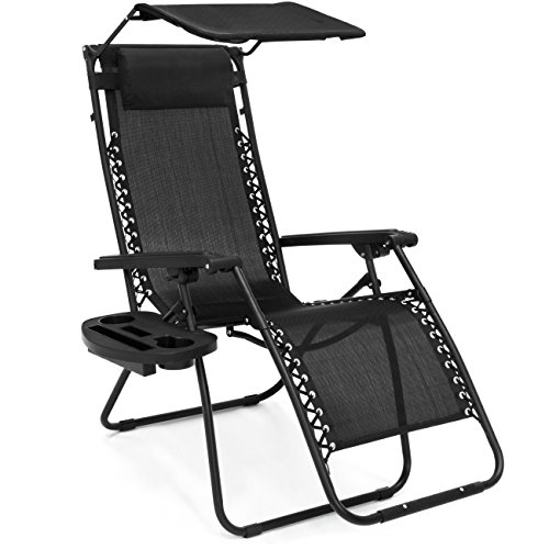 Best Choice Products Folding Zero Gravity Recliner Lounge Chair w/ Adjustable Canopy Shade, Cup Holder Accessory Tray, Headrest Pillow - Black ()