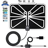TV Antenna, ZetHot 50 to 70 Mile Range Amplified Indoor HDTV Antenna with 16.5FT High Performance Coax Cable for Digital Freeview and Analog TV Signals - Free Local Channels for Life for HDTV