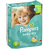 Pampers Baby Dry Diapers Size 6 21 CT (Pack of 8)