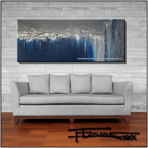 Limited Edition Giclee, Hand textured and embellished, Abstract Painting Modern Fine Art 60x24x1.5 inch by ELOISExxx by ELOISE WORLD STUDIO