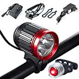 S SUNINESS Bike Lamp Set, Super Bright 5000 Lumens 4 Modes Rechargeable Waterproof Durable Bicycle Front LED light and Free Taillight with Battery Pack for Road Cycling Safety Flashlight(Red-3LED)