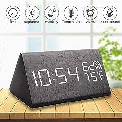 Greenke Wooden Digital Alarm Clock, Voice Control Desk Alarm Clock Adjustable Brightness Large Electronic LED Time Humidity Temperature Display for Bedroom Office & Home Black