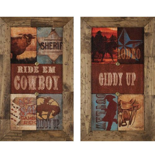 - Ride Em Cowboy 17x29 Framed Wall Art (Set of 2) by Paragon