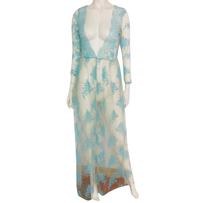Ularma Vestido transparente de las mujeres, manga encaje Casual Maxi vestido de noche largo