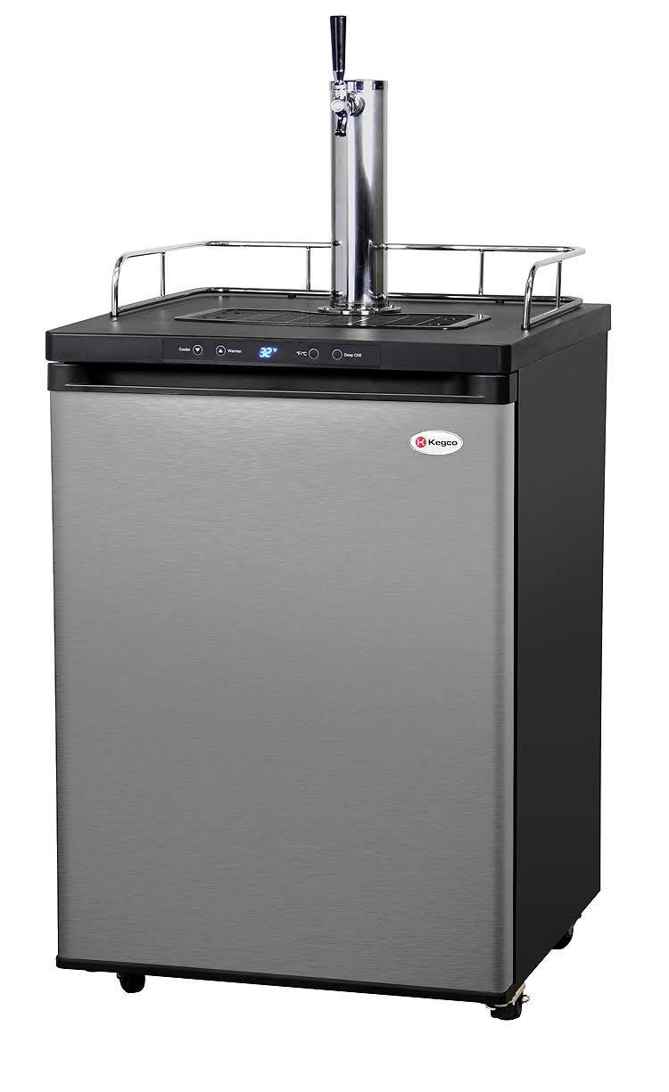 Kegco K309SS-1P Digital Keg Beer Cooler – Premium Single Faucet D System Kit – Stainless Steel Door