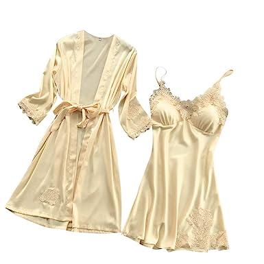 Women Silk Lace Lingerie Robe Dress Soft Comfortable Babydoll Nightdress Sleepwear Kimono Set (Beige,