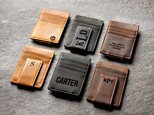 Personalized Leather Magnetic Money Clip The Sanibel by Left Coast Original ()