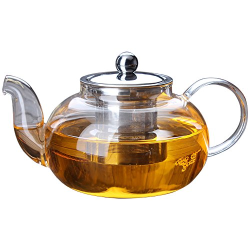 TOWA Workshop Glass Teapot with Stainless Steel Infuser and Lid, Microwavable and Stovetop Safe Tea Pot, Great for Flowering Tea and bag & Loose Leaf Tea (27 oz / 800 ml)