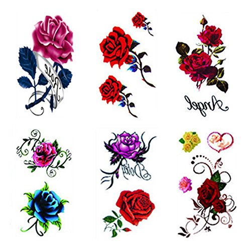 6 Sheets Body Art Rose Flower Temporary tattoo stickers by Qufan,Fake Tattoos for kids girls teens,waterproof and Long Lasting sexy body tattoos -red Rose,blue rose flowers and butterfly,floral tattoo