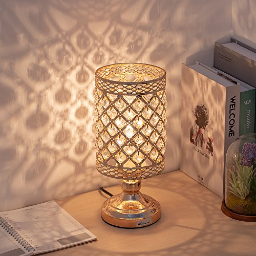 - HAITRAL Crystal Nightstand Lamp - Gold Bedside Table Lamp with Hanging Clear Crystal Lamp Shade Decorative Metal Base Desk Light Lamp for Living Room, Bedroom, Dresser, Office, Hallway, Ideal Gifts