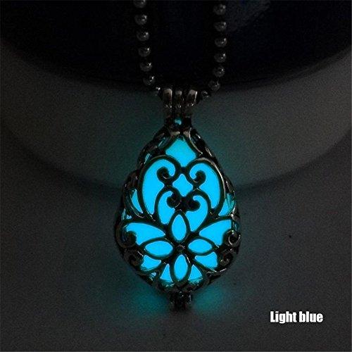 - Bangood Fashion Teardrop Pendant Hollow Locket Necklace Glow In The Dark Jewelry Dark blue