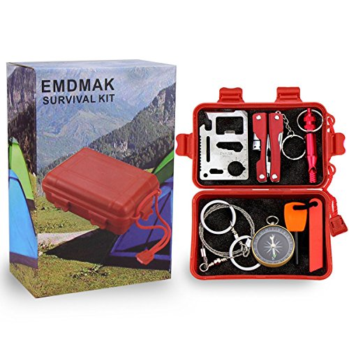 Survival Kit EMDMAK Outdoor Emergency Gear Kit for Camping Hiking Travelling or Adventures (Red)