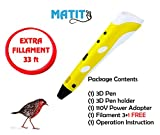 Matit 3D Pen, Professional Drawing 3D Printing Pen for Kids & Adults, 1.75mm PLA 3D Printing Pen, Doodler Drawing, Modern Arts & Crafts Tool, with Filaments + 33ft EXTRA FILAMENT