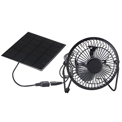 TOOGOO 4 Inch Cooling Ventilation Fan USB Solar Powered Panel Iron Fan For Home Office Outdoor Traveling Fishing