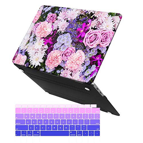 iCasso MacBook Air 13 Inch Case 2018 Release A1932,Rubber Coated Cover with Keyboard Cover Compatible Newest MacBook Air 13 Inch with Retina Display fits Touch ID (Purple Flower)