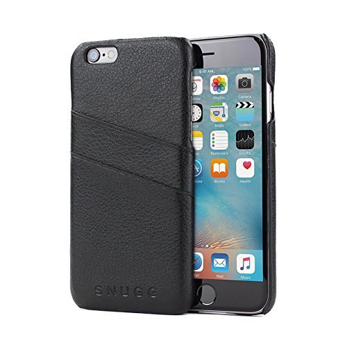 iPhone 6 Plus and 6S Plus Case, Snugg Black Leather Ultra-Slim Case Cover [Dual Card Slots] Apple iPhone 6 Plus and 6S Plus Protective Back Cover