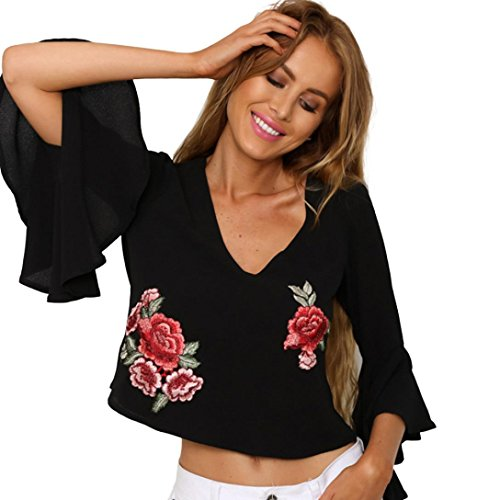 Goodsatar Poliéster Mujer Halter Appliques Rose Manguito suelto Camisa casual Tops Blusa negra Negro
